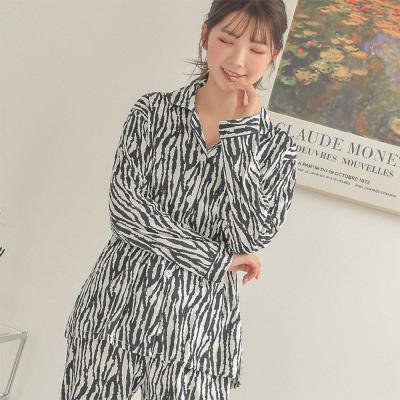 여자 애니멀 패턴 지브라 투피스 파자마 잠옷