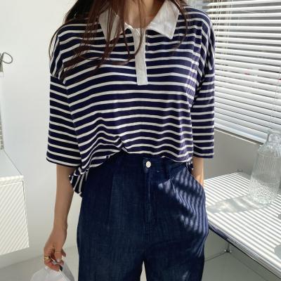 여자 줄무늬 카라넥 단가라 반팔 보이핏 반팔 티셔츠