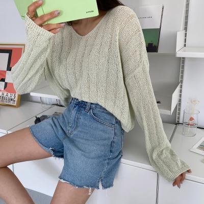 여자 시스루 스트라이프 골지 여름니트 크롭 티셔츠