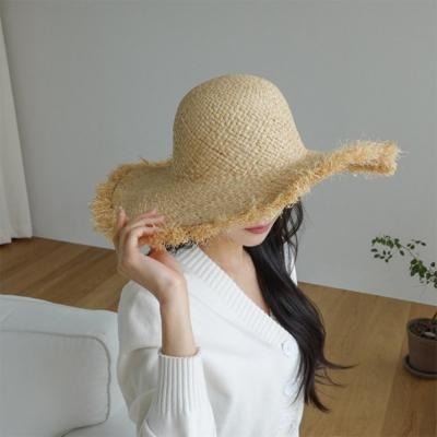 여자 봄 여름 데일리 데미지 라탄 플로피햇 모자