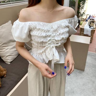 여자 오프숄더 스모크 밴딩 셔링 프릴 반팔 티셔츠
