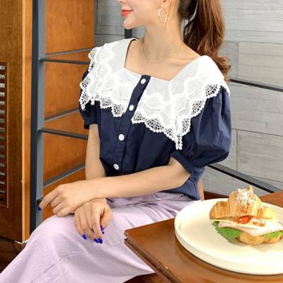 여자 여름 스퀘어넥 빅카라 셀러 레이스 반팔 티셔츠