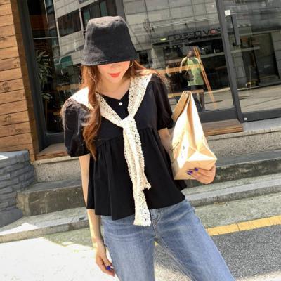 여자 레이스 케이프 탈착용 브이넥 반팔 세트 티셔츠