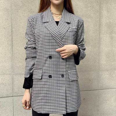 여자 봄 데일리 체크 패턴 보이핏 박시 루즈 자켓