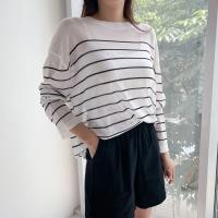 여자 단가라 얇은니트 줄무늬 스판 시스루 티셔츠