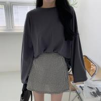 여자 반전 뒷트임 스트랩리본 루즈핏 얇은긴팔 티셔츠