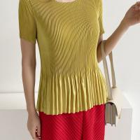 여자 반팔 사틴 공단 플리츠 주름 쫄티 블링 티셔츠