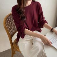 여자 여리여리 루즈핏 퍼프 무지 기본 긴팔 티셔츠