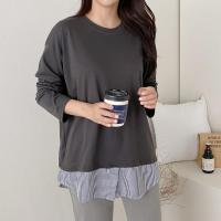 여자 스트라이프 셔츠 레이어드 루즈핏 긴팔 티셔츠