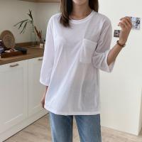 여자 기본 포켓 롱티 박스핏 얇은 긴팔 찰랑 티셔츠
