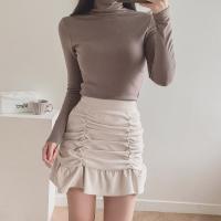 여자 레이어드 기모 긴팔티 슬림핏 목폴라 티셔츠