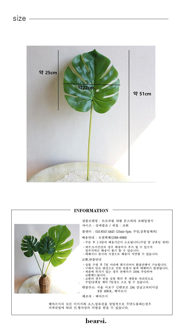 트로피컬 대왕 몬스테라 조화잎장식 - 베아르시, 3,400원, 조화, 부쉬