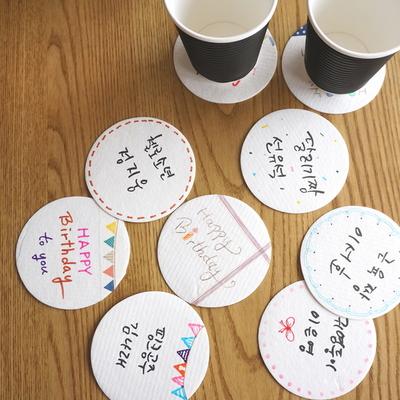 내가 만든 원형 컵받침 -10개- 종이티코스터