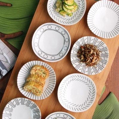 일본식기 화이트 에가와리 4P 접시세트