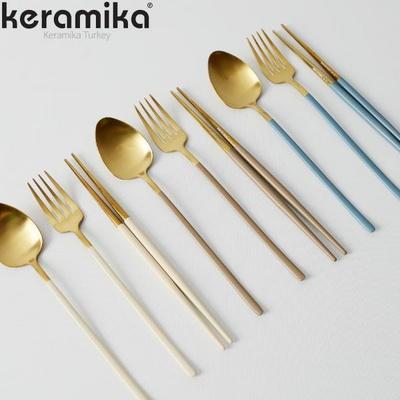 케라미카 골드 커트러리 양식기 디너 스푼 포크 젓가락 6컬러