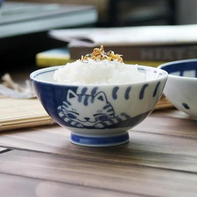일본식기 블루네코 공기와대접