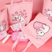 오버액션토끼 하트 에코백 핑크 캐릭터가방
