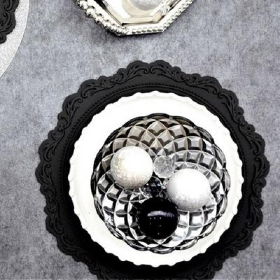 실리콘 원형 식탁매트 프렌치 블랙