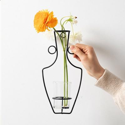 인테리어 북유럽 와이어 벽걸이 유리 화병 꽃병