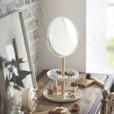 화장대 스탠드 원형 화장 양면 수납 확대 거울