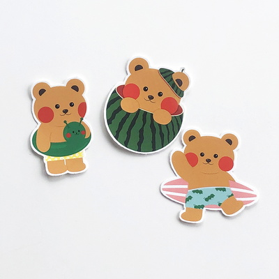 썸머 일레베어 곰돌이 다꾸 낱장 조각 스티커 팩 세트