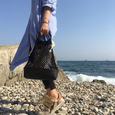 (HANDMADE) Knit bucket bag _Black