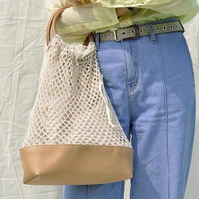 (HANDMADE) Knit bucket bag _Ivory