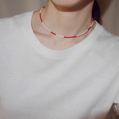 red_white_neck 레드화이트 비즈목걸이