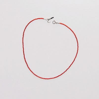 red_simple_neck 심플 레드 비즈목걸이