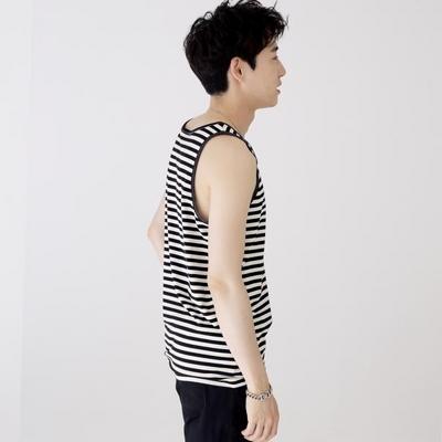 슬리버 3901 스트라이프 민소매 티셔츠 블랙