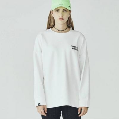 W_아카릿 3357 유니 맨투맨 오버핏 화이트 스웨트셔츠