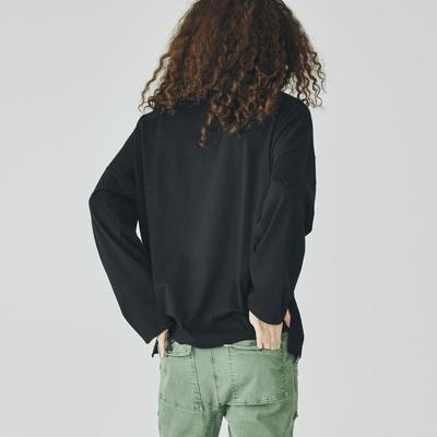스웩버 3552 유니 오버핏 블랙 긴팔티셔츠