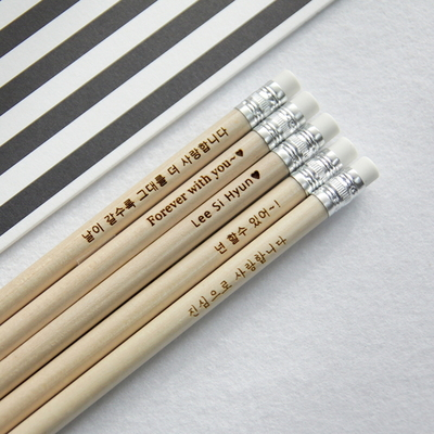 메시지 각인 -Eraser Woodpencil 5본 세트 - 개별각인OK