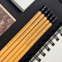 메시지 각인 - Eraser Woodpencil (Mustard Yellow) 5본 세트 - 개별각인OK