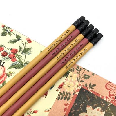 나미브 원목연필 5본입 세트(Mustard Yellow+Rust Red) - 메시지각인