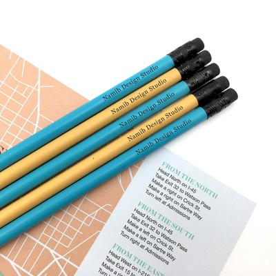 나미브 원목연필 5본입 세트(Ocean Blue+Mustard Yellow) - 메시지각인