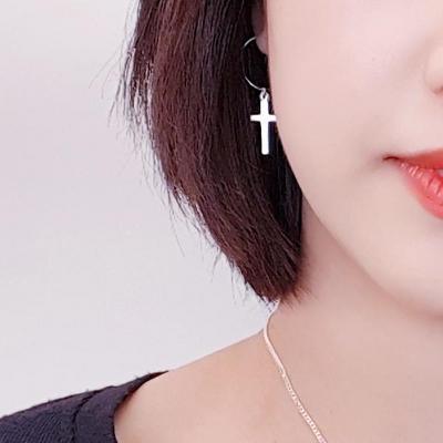 14K 십자가 귀걸이