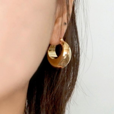 14K 할로우 원터치 귀걸이 실버 925