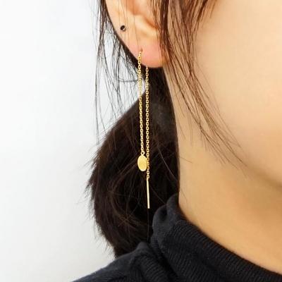14K 서클 체인 드롭 귀걸이