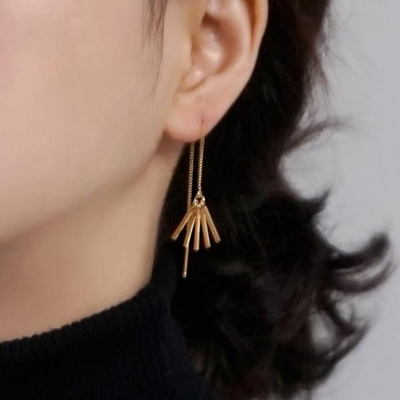18K GOLD PLATING 스틱 태슬 드롭 귀걸이 실버 925