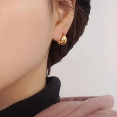 18K GOLD PLATING 모던 원터치 귀걸이 실버 925