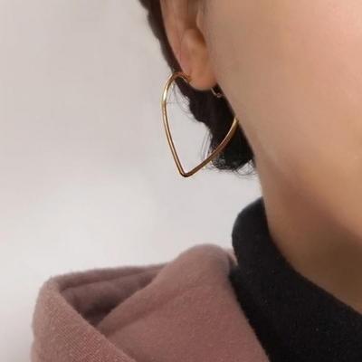 18K GOLD PLATING 심플 하트 귀걸이 실버 925