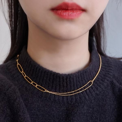 18K GOLD PLATING 샤토 목걸이 실버 925