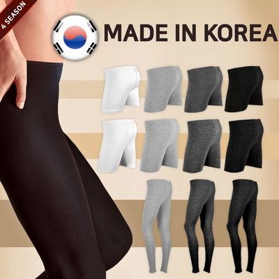 MADE IN KOREA 여성 면 스판 9부 타이즈 밴딩 레깅스