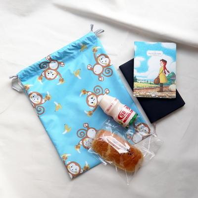 핸드메이드 다용도 방수 조리개 가방-체크(로열블루) 소풍 학교 학원 수영복 파우치 에코백 신주머니