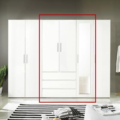 뉘앙스 1200 드레스룸 3서랍 전신 거울 도어형 선반 옷장 세트