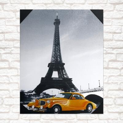 프랑스 노란자동차 아트액자