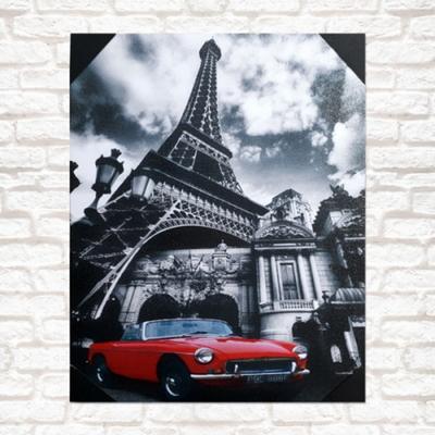 프랑스 빨간자동차 아트액자