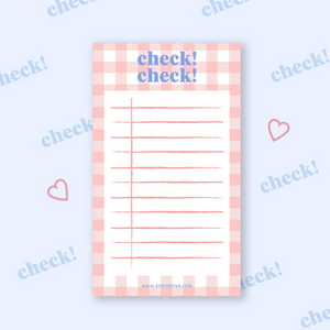 Pink Check Check memo