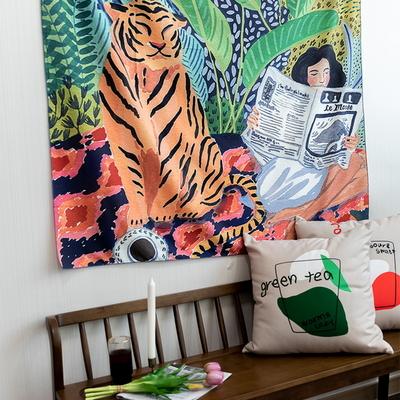 호랑이와소녀 130x150cm 대형 패브릭포스터 태피스트리